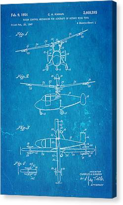 Helicopter Canvas Print - Kaman Rotor Control Patent Art 1954 Blueprint by Ian Monk