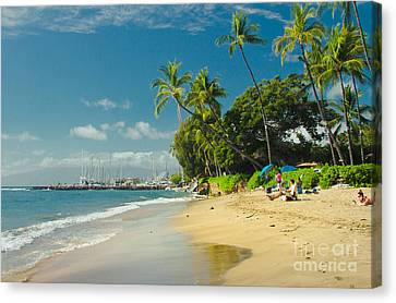 Kamehameha Iki Park Beach Lahaina Maui Hawaii  Canvas Print by Sharon Mau