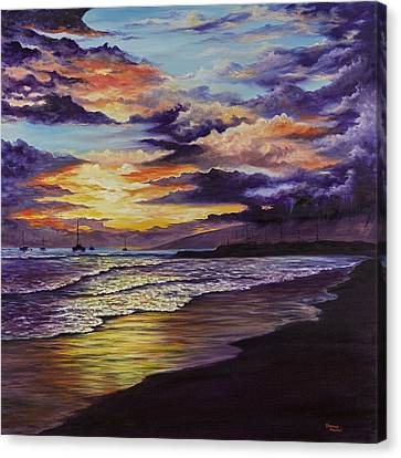 Canvas Print featuring the painting Kamehameha Iki Park Sunset by Darice Machel McGuire