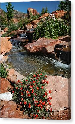 217p Kanab Ut Water Feature Canvas Print by NightVisions