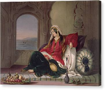 Cushion Canvas Print - Kandahar Lady Of Rank by James Rattray