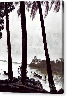Kaneohe Bay From Bus Stop Canvas Print by Mukta Gupta