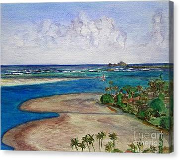Canvas Print featuring the painting Kaneohe Bay View From The Roof by Mukta Gupta