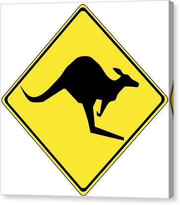 Kangaroo Crossing Sign Canvas Print