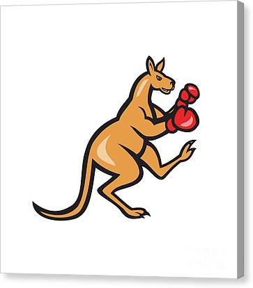 Kangaroo Kick Boxer Boxing Cartoon Canvas Print by Aloysius Patrimonio