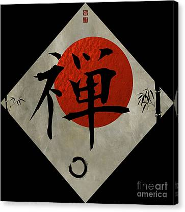 Indian Ink Canvas Print - Kanji Zen With Enso #2 by Nola Lee Kelsey