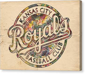Kansas City Canvas Print - Kansas City Royals Logo Vintage by Florian Rodarte