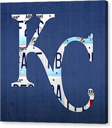 Kansas City Royals Recycled License Plate Art Baseball Logo Canvas Print by Design Turnpike