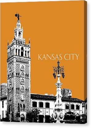 Kansas City Skyline 2 - Dark Orange Canvas Print by DB Artist