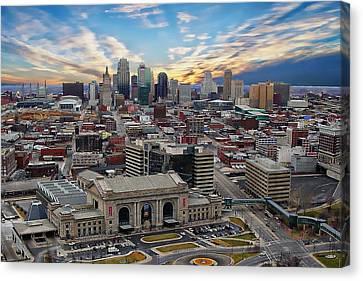 Kansas City Skyline Canvas Print by Anthony Dezenzio