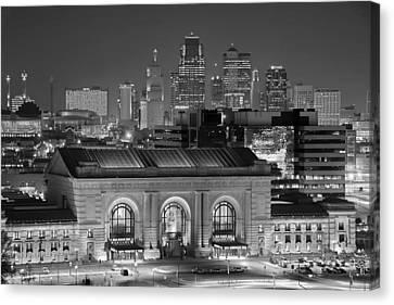 Kansas City Skyline At Night Kc Downtown Black And White Bw Panorama Canvas Print by Jon Holiday