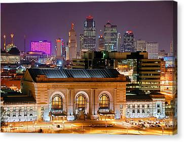Kansas City Skyline At Night Kc Downtown Color Panorama Canvas Print by Jon Holiday