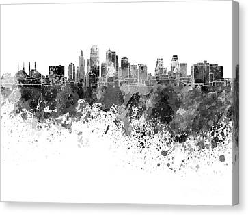 Kansas City Canvas Print - Kansas City Skyline In Black Watercolor On White Background by Pablo Romero