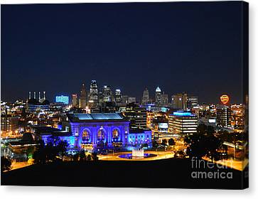 Kansas City Union Station In Blue  Canvas Print by Catherine Sherman