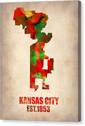 Kansas City Watercolor Map Canvas Print by Naxart Studio