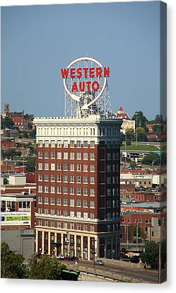 Kansas City - Western Auto Building 2 Canvas Print by Frank Romeo