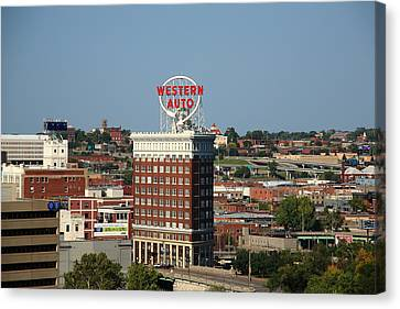 Kansas City - Western Auto Building Canvas Print by Frank Romeo