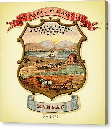 Kansas Coat Of Arms - 1876 Canvas Print by Mountain Dreams