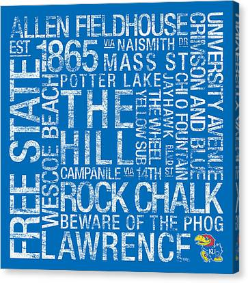 Word Art Canvas Print - Kansas College Colors Subway Art by Replay Photos