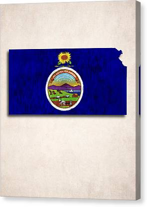Kansas Map Art With Flag Design Canvas Print by World Art Prints And Designs