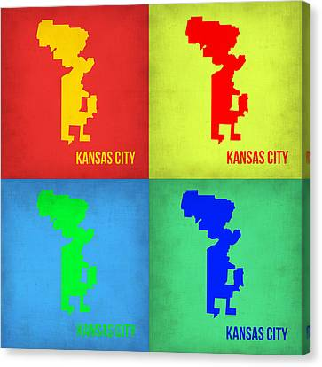 Kansas City Canvas Print - Kansas Pop Art Map 1 by Naxart Studio