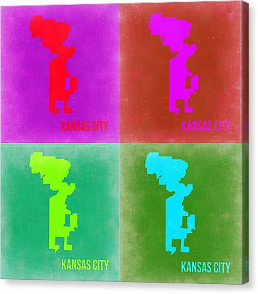 Kansas City Canvas Print - Kansas Pop Art Map 2 by Naxart Studio