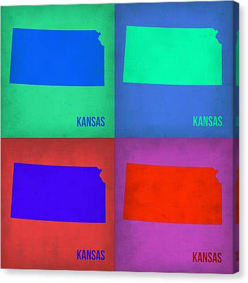 Kansas City Canvas Print - Kansas Pop Art Map 3 by Naxart Studio