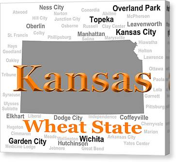 Kansas State Pride Map Silhouette  Canvas Print by Keith Webber Jr