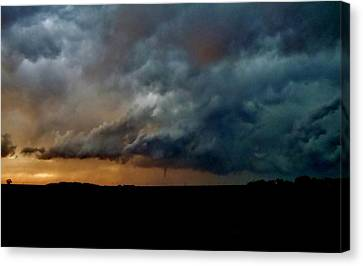 Canvas Print featuring the photograph Kansas Tornado At Sunset by Ed Sweeney