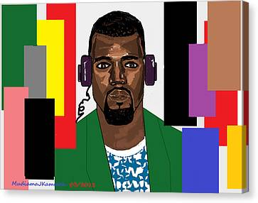 Canvas Print featuring the digital art Kanye West- Music Not Skin Colours by Mudiama Kammoh