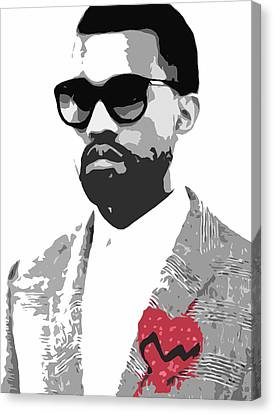 Celebrities Canvas Print - Kanye West by Mike Maher