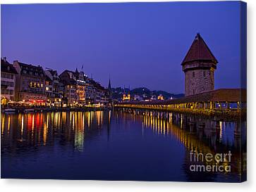 Kapelbrucke Bridge At Night, Switzerland Canvas Print by Bill Bachmann