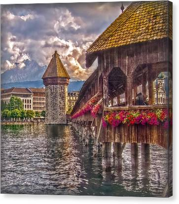Canvas Print featuring the photograph Kapellbruecke by Hanny Heim