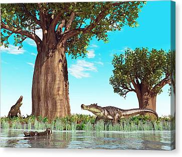 Kaprosuchus Prehistoric Crocodiles Canvas Print by Walter Myers