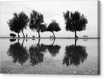 Benches Canvas Print - Kara?a?yakala?lar by Ali Ayer