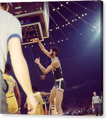 Kareem Abdul Jabbar Follow Through Canvas Print by Retro Images Archive