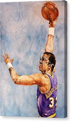 Magic Johnson Canvas Print - Kareem Abdul Jabbar by Michael  Pattison
