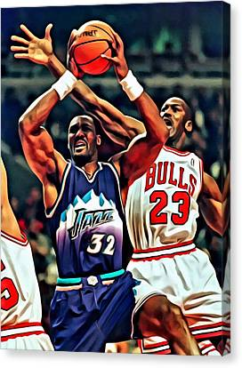 Karl Malone Vs. Michael Jordan Canvas Print by Florian Rodarte