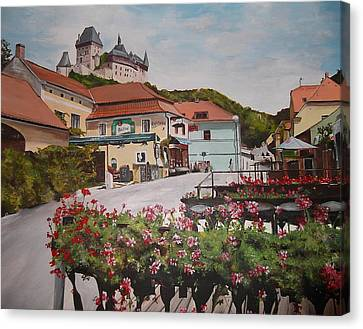 Canvas Print featuring the painting Karlstejn Castle by Cherise Foster