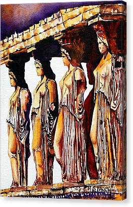 Canvas Print featuring the painting Karyatides by Maria Barry