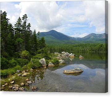 Katahdin And Sandy Stream Pond Canvas Print
