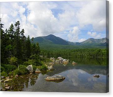 Katahdin At Sandy Stream Pond 1 Canvas Print