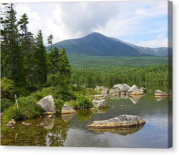 Katahdin Framed At Sandy Stream Pond Canvas Print