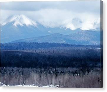 Canvas Print featuring the photograph Katahdin Snow by Gene Cyr