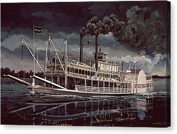 Spread Eagle Steamboat Night Canvas Print by Don  Langeneckert
