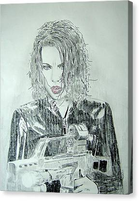 Kate Beckinsale Underworld Drawing Canvas Print by Dan Twyman