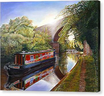 Towpath Canvas Print - Kate Boat On The Grand Union Canal, 2001 Oil On Canvas by Kevin Parrish