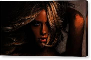 Kate Upton Canvas Print by Jennifer Hotai