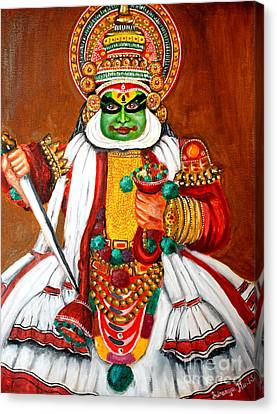 Canvas Print featuring the painting Kathakali by Saranya Haridasan