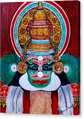 Canvas Print featuring the painting kathakali..Duryodhana by Saranya Haridasan